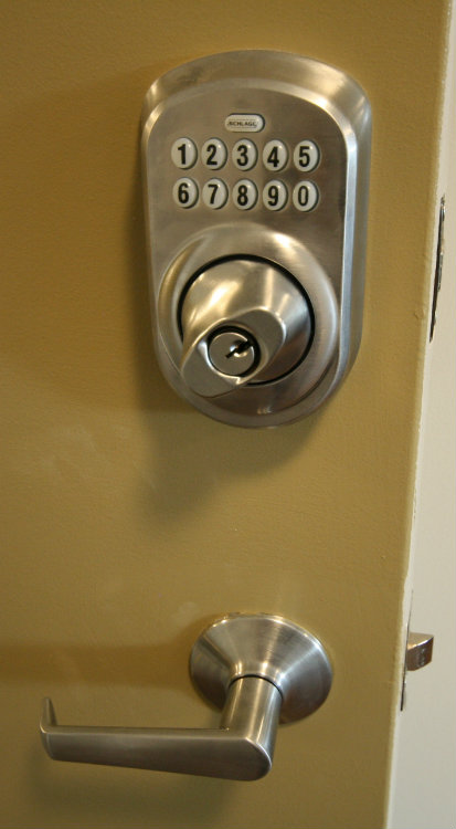 Each Suite has push button door lock