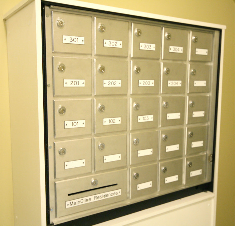 Each Suite has it's own mailbox