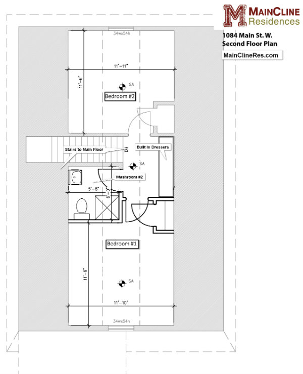1084 Main St W., Hamilton - Upper Floor Plan