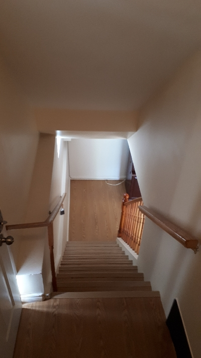Stairs down into the unit